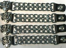 4 EAGLE CLAW DIAMOND CUT CHROME CHAIN MOTORCYCLE BIKER VEST EXTENDERS USA MADE