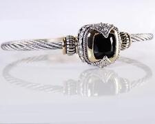 Designer Cubic Zirconia Jet Black Silver Gold Cable Magnetic Cuff Bracelet