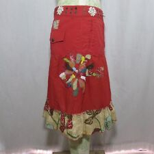 Muchacha US Size 6 EU Size 40 Red Skirt Shells Beaded Boho Patchwork