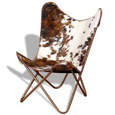 Vintage Butterfly Chair Rustic Leather Accent Seater Countryside Brown Furniture