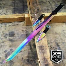 RAINBOW TANTO BLADE MACHETE NINJA SWORD WITH THROWING KNIVES AND SHEATH