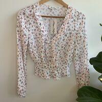 MISS SHOP White Floral Print Ruffle Long Sleeve Blouse 6 XS RRP $49.95