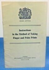 Vintage Police Memorabilia Taking Finger Palm Prints Instruction Guide Book 1960
