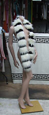 Gorgeous, Fluffy, Luxurious, Ultra Long Black & White Faux Fur Scarf