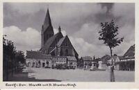 uralte AK, Barth in Pommern - Markt mit St. Marien-Kirche Feldpost 1942  //49