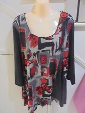 CLARITY SIZE XL 18 BLACK RED UNEVEN HEMLINE LINED TUNIC TOP