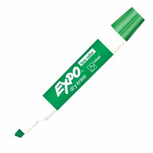80004 Expo Low Odor Dry Erase Whiteboard Marker, Chisel Tip, Green, Pack of 3