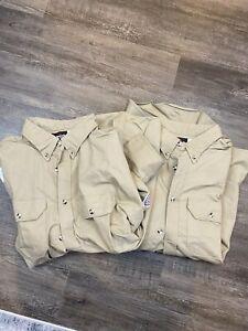 Bulwark FR Long Sleeve Button Front Tan Shirts Size XXL Reg NFPA 2112 Flame NWT