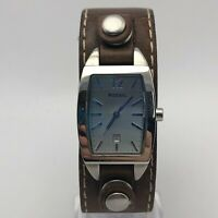 Fossil Unisex JR8133 Brown Leather Wide Band Stainless Steel Case Analog Watch