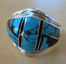 Navajo Sterling Silver with Turquoise and Jet Inlay Ring