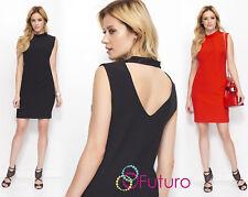 Mini Vestido para Mujeres Elegante abierto atrás sin mangas cuello túnica señoras FA595 De Alto