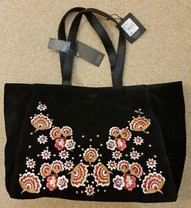 Nine by Savannah Miller-Black suede floral embroidered Handbag Bag RRP £85