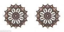 5 Filigree Focal Pendant Drop Bead Charm ~ Antique Copper  32mm 1.25""