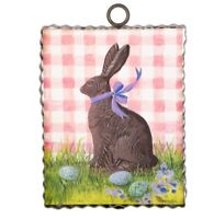Round Top Collection NWT - Mini Chocolate Bunny On Gingham Print - Metal & Wood