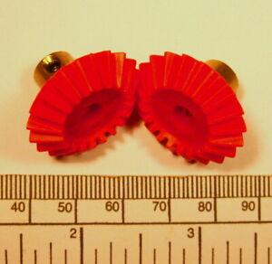 Bevel gears - pair - red nylon / brass hub with grub screw -4mm bore