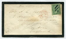p259 - LONDON-C Ontario 1866. MAJOR RE-ENTRY#18 on Mourning Cover to England