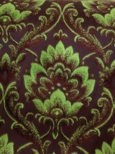 9 Metres Floral Damask Chenille Curtain & Upholstery Fabric In Lime & Chocolate
