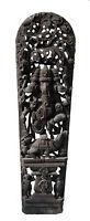 """Antico Pannello Legno Lavorato Statua Hindu Ganesha 210 cm-82 """" Nepal India"""