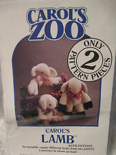 Carols Zoo 2 pattern pieces Carol's Lamb Family Versatile Sewing Crafts __B4
