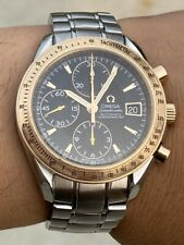 Omega Speedmaster 18K Two Tone Red Rose Gold Steel Chronograph Men's Watch Box