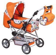 Puppenwagen 2 in 1 zum Buggy umbaubar mit Wickeltasche uvm orange NEU 228482