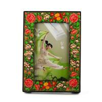 Oriental Hand Painted Flowers Wooden Picture Frame 7 Inches x 5 Inches