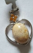 Fossil Coral and Orange Sapphire sterling silver Pendant