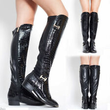 New Women Winter Boots Tabitha Ladies Shoes Low Heel Under Knee High Calf Riding
