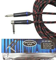 Post Audio 20' Angle Black & Red ThickTweed Guitar Cable with 10 Year Warranty