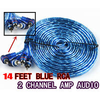 14' FEET Car Amplifier Wiring Audio Subwoofer Sub Power AMP RCA Cable 2Channel