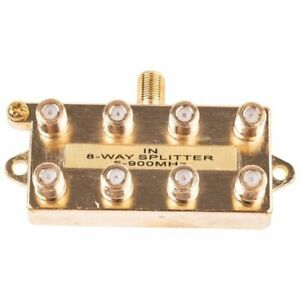 8-Way Coax Video Splitter Digital HD Cable TV F Type RG6 RG11 RG59 5-900 MHz 1x8
