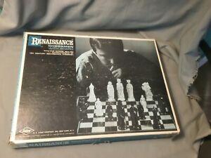 Vtg 1959 E.S. Lowe RENAISSANCE CHESSMEN Chess Set Instruction Box Board Complete