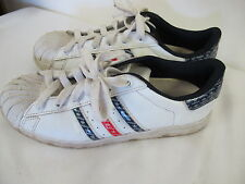 ADIDAS SUPER STAR SNEAKERS SHELL RUBBER TIP LOGO RED WHITE BLUE  MEN'S 9