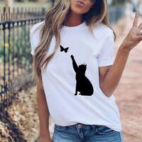 Women Cat Printed Tees Shirt Short Sleeve T Shirt Blouse Tops Loose Ladies Tees