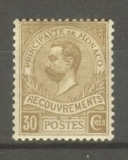 "MONACO STAMP TIMBRE TAXE N°10 "" PRINCE ALBERT 1er 30c BISTRE 1910 "" NEUF xx SUP"