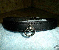 "Genuine Leather Collar, Post  & D Ring, 1/2"", Hand crafted Gothic Punk"