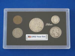 1952 United States Five Coin Silver Year Set in Protective Display Case