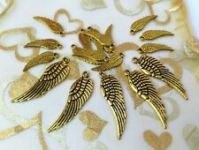 20 x Antique Gold Angel Wing Charms mix 30mm & 17mm