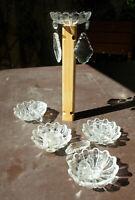 Lot de 5 anciennes  bobèches coupelles verre et pampilles lustre ancien