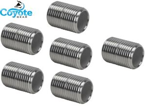 """6 Pack Lot: 1/4"""" NPT X CLOSE 316 SS Stainless Pipe Thread Nipples Coyote Gear"""