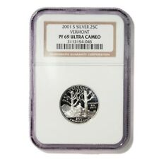 USA Vermont State Quarter 2001 S Silver Proof NGC PF 69 Ultra Cameo