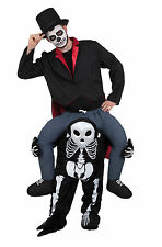 Skeleton Piggyback Ride On Halloween Fancy Dress Outfit Costume