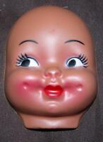 """VTG NOS 1960'S DOLL MAKING SUPPLIES - THIN PLASTIC 4"""" ETHNIC DIMPLES MASK FACE"""