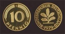 GERMANIA GERMANY 10 PFENNIG 1979 G PROOF FDC/UNC FIOR DI CONIO