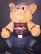 """Vintage 1993 Harley Davidson Motorcycle Biker Pig 12"""" Stuffed Animal Plush"""