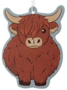 Highland Coo Cow Car Air freshener - Autumn Leaves Scented Odor Neutraliser