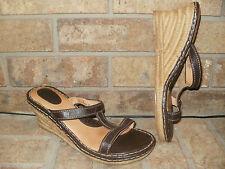 Born W6494 Brown Leather Platform Wedge Espadrilles Sandals Womens 42/US 10 Nice