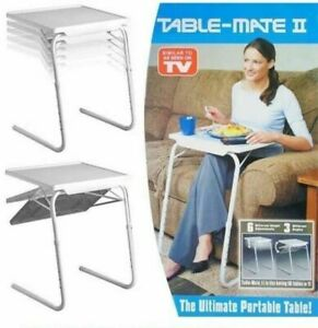 ADJUSTABLE FOLDING PORTABLE TABLE MATE LAP TRAY TV DINNER DESK SERVING TRAY