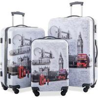 Flieks 3 Piece Luggage Set ABS + PC Spinner Travel Suitcase Set