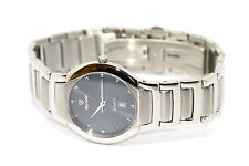 NIVADA SWISS WATCH RARE SILVER STAINLESS STEEL WOMENS BLUE STUD DIAL